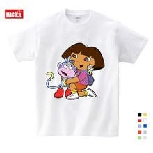 цены 3T-9T Girl Summer Cotton T Shirts Casual Funny Top T Shirt Boys Tops 2019 New T Shirts Kids Toddler Dora Explorer Tee Shirt