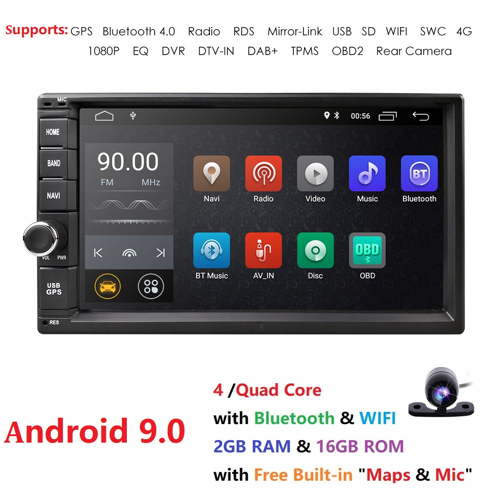 72G+16G Android9.0 Universal Car Audio Stereo GPS Navigation Double 2Din 1024*600 HD Head Unit Multimedia Player Octa Core WIFI image