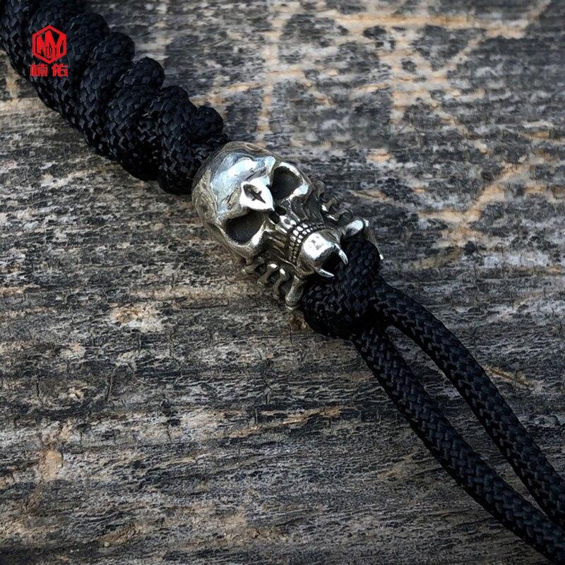 925 argent Original fait à la main eextraterrestre en forme de crâne araignée couteau perles EDC parapluie corde couteau perles pendentif