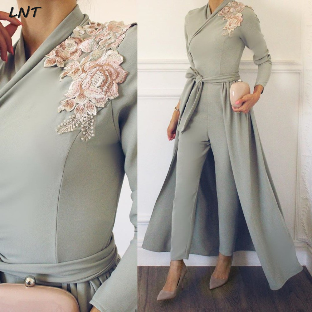 Long Sleeves Grey Jumpsuit With Removable Skirt Women Fashion Clothing Evening Gowns Formal Wear Dress Long Party Vestidos De G