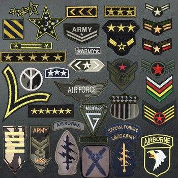 Parche militar, parches bordados para ropa, planchar en la ropa, motivos del ejército, rango, apliques aerotransportados, rayas, brazaletes con insignia Diy
