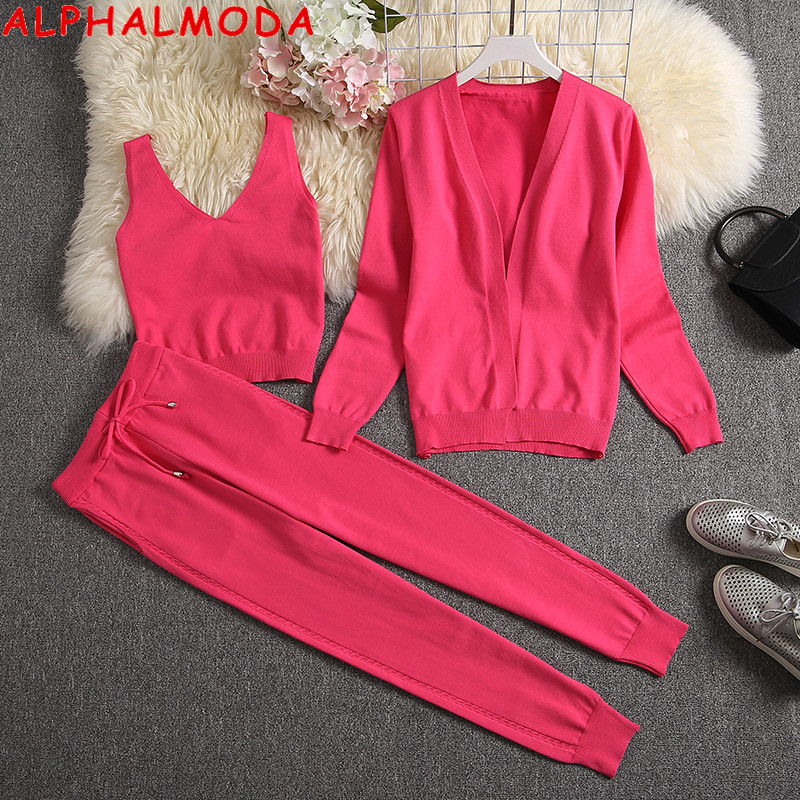 ALPHALMODA 2019 Winter Women Fashion 3pcs Suit Long Cardigans + Vest + Pants Solid Knitting 3pcs Set Trendy Clothes Set