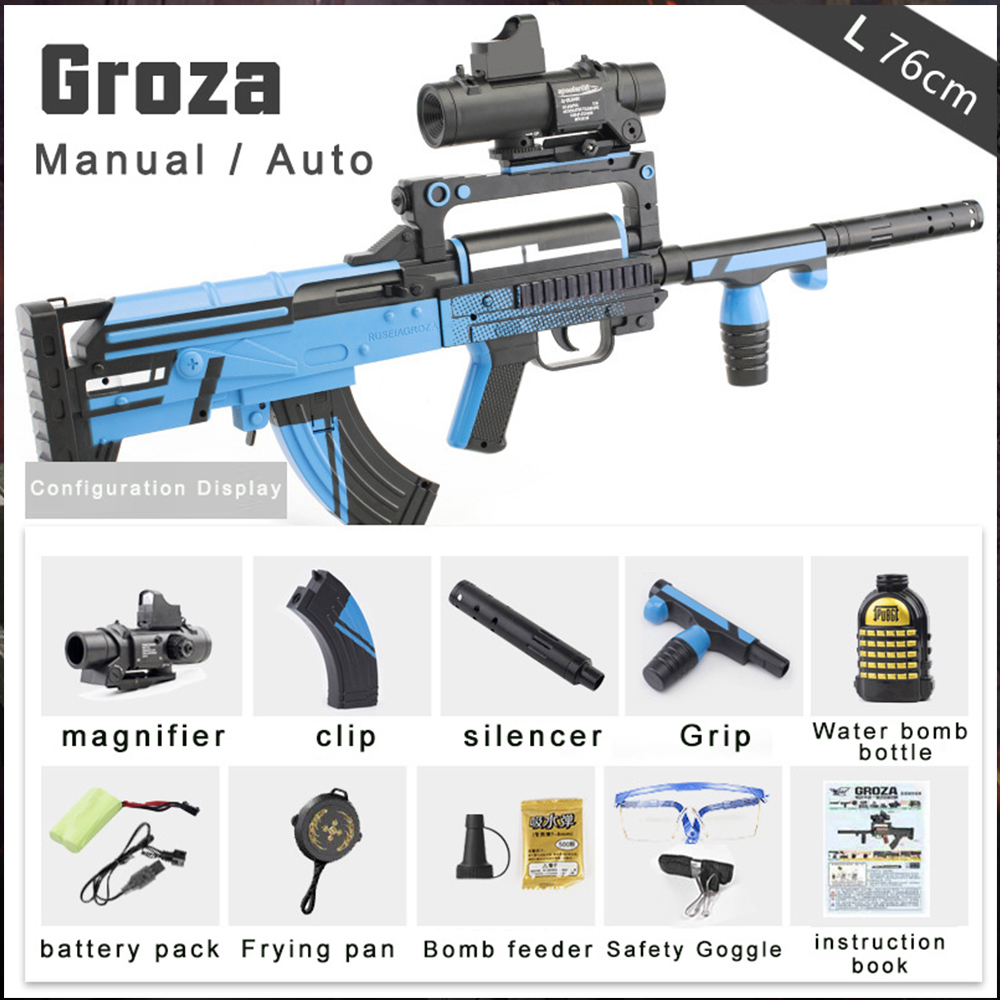 Groza Electric Auto Manual Toy Gun Black Red Live CS Assault Sniper Weapon Water Bullet Bursts Gun Funny Outdoor Pistol Boy Toys