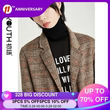 Plaid Coat Check Outerwear Collar Blends Wool Single-Button Women Turn-Down Toyouth