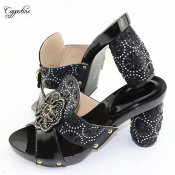 Popular Black With Rhinestones African Women's Shoes CR2113 Heel Height 9.5CM