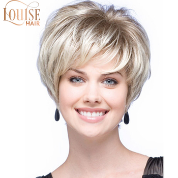 Louise Blonde Wig 10 Inch Light Brown Bob Wigs For Women With Side Bangs Hairs High Temperature Fiber Straight - discount item  30% OFF Synthetic Hair