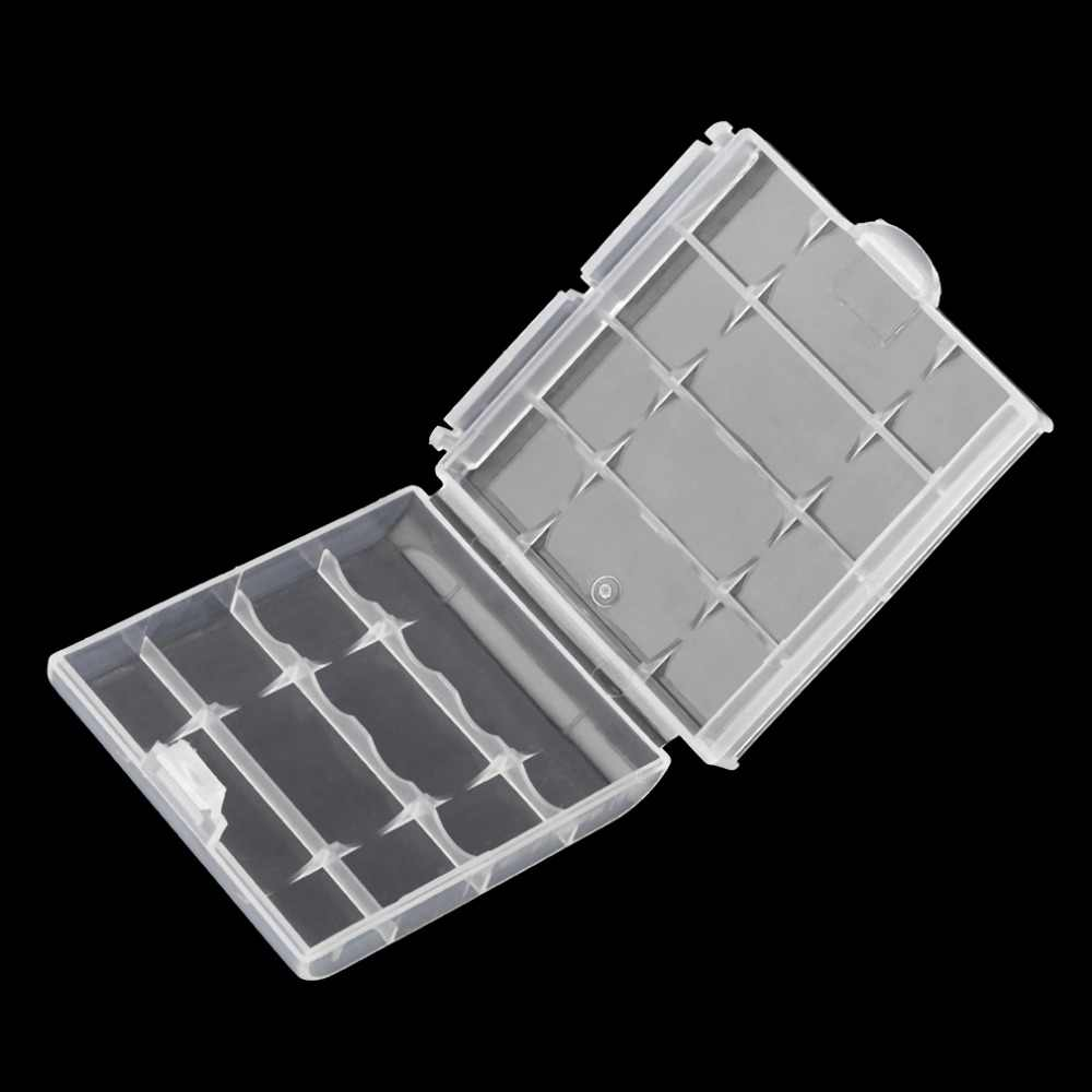 Beyaz plastik pil saklama kutusu sert plastik kılıf tutucu 4 adet AA AAA piller şeffaf