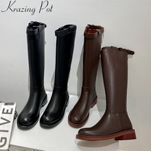 Dress Krazing-Pot Heel High-Boots Back-Zipper Knee Winter Thick Fashion Solid L35 Round-Toe