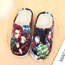 Seksowne Anime Demon Slayer Kimetsu no Yaiba Tanjirou Kamado buty Cosplay mężczyźni kobiety miękki pluszowy przeciwpoślizgowe pantofle domowe