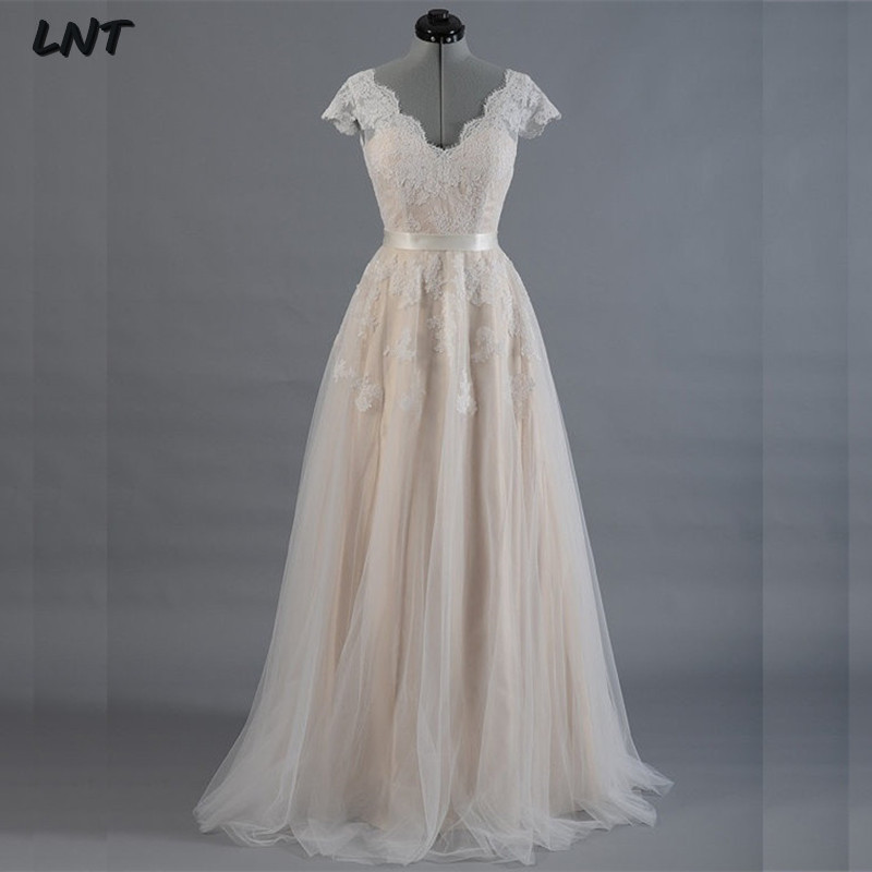Short Sleeves V Neck Spring Autumn Country Wedding Dresses Lace Bridal Dress Custom