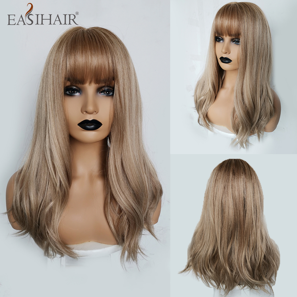 EASIHAIR Blonde Ombre Wigs Synthetic Wigs With Bangs For Women Medium Length Heat Resistant High Temperature Fiber Cosplay Wigs