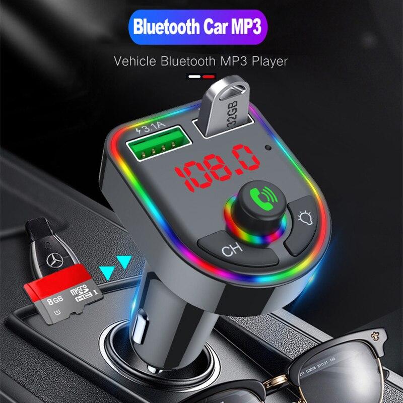 2021 umgebungs Licht Bluetooth 5,0 FM Transmitter Auto MP3 Freihändigen Audio Empfänger USB Schnelle Ladung TF U Disk spielen