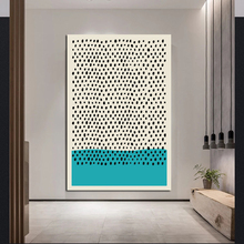 Geometric Abstract Scene White And Blue Dots Canvas Painting Modern Wall Art Posters Pictures For Home Living Room Decoration