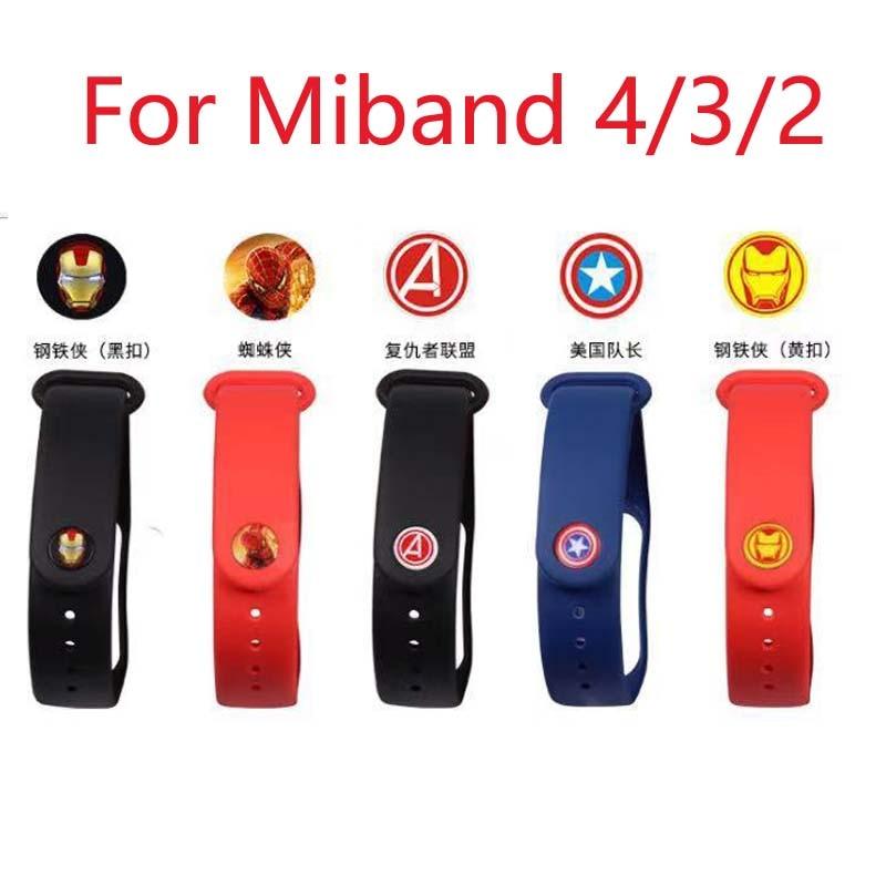 New Avengers Marvel For Xiaomi Mi Band 4 3 Sport Strap Silicone Wrist Strap For Xiaomi Mi Band 3 Accessories Miband 3 Bracelet