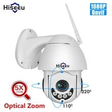 Hiseeu 1080p wifi câmera ip ptz 5x zoom óptico de velocidade dome câmera ao ar livre à prova d2água 2mp cctv vigilância 2 vias áudio onvif