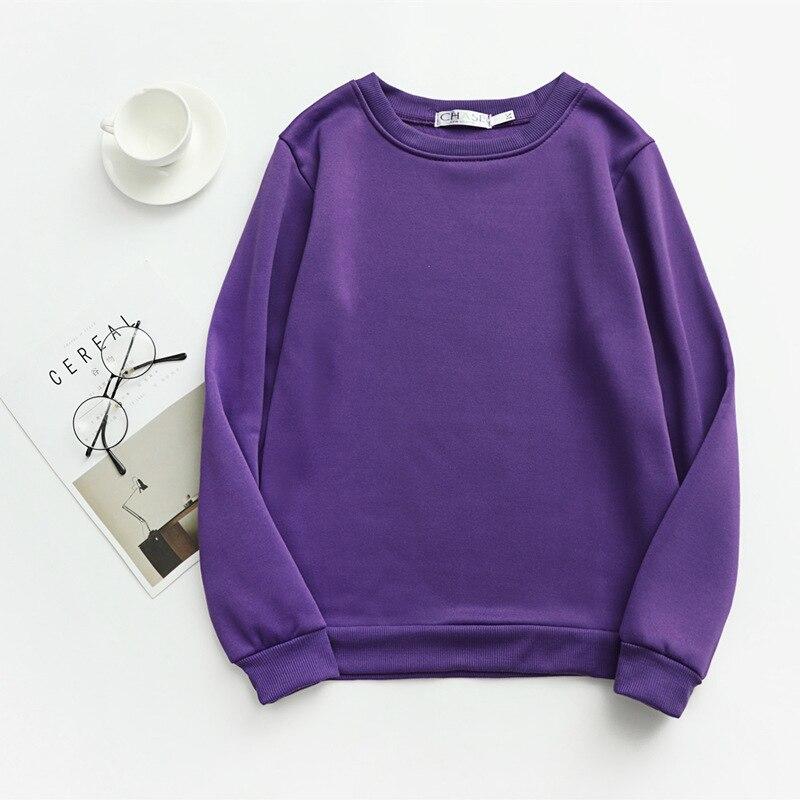 Women Solid Sweatshirts Korean Style Autumn Ladies Student Round Neck Long Sleeve Loose Pullover Tops WDC6301 18