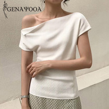 Genayooa Fashion Women 2020 Summer T Shirts Solid Ice Silk Top Casual Slim Knitted Tee Shirt Femme White One Shoulder Top Ladies(China)