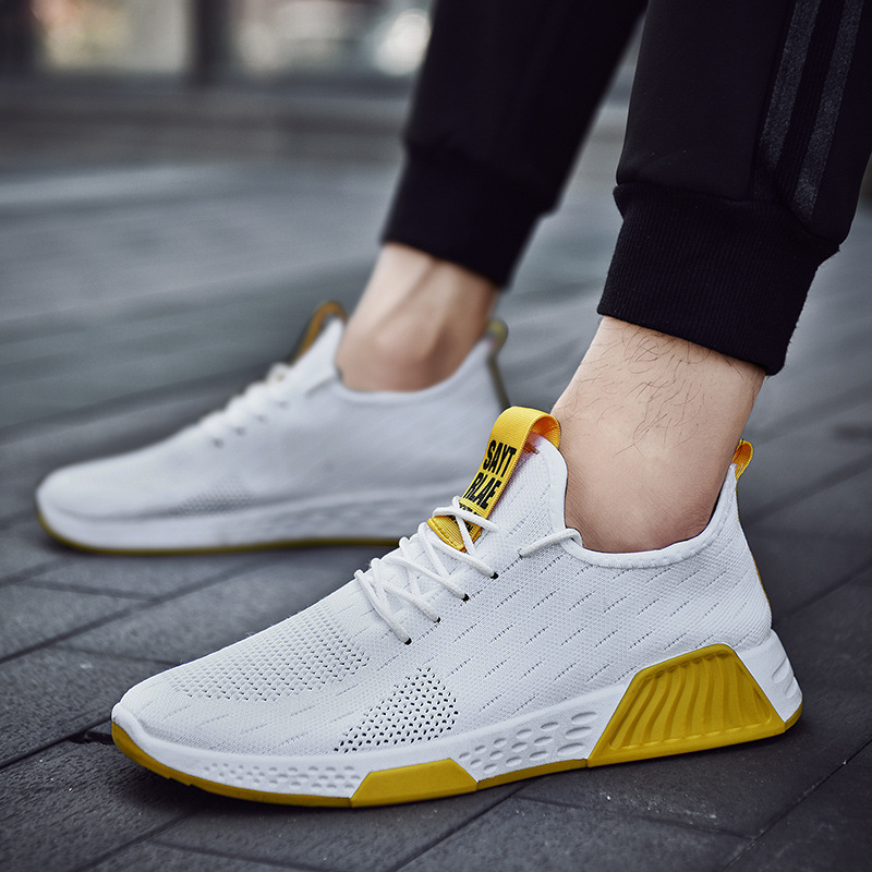 Online Celebrity Hot Selling Korean-style Trend Men Athletic Shoes Fly Weaving Breathable Comfortable Running Shoes Fashion MEN'