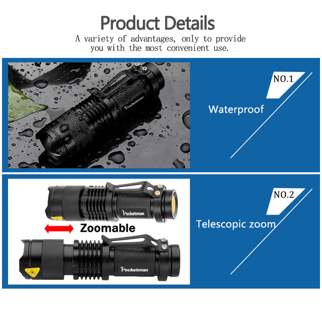 Mini Q5 T6 L2 LED Flashlight Pen Clip Telescopic Zoom Flashlamp Waterproof Torch Pocket Flash Light Use 14500 Or 18650 Battery 4