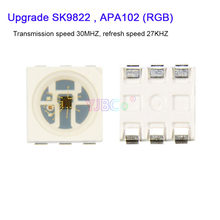1000 pces sk9822 atualizar leds chips apa102 semelhante ic smd 5050 rgb para o módulo de tela dc5v 27 khz freqüência velocidade da lâmpada contas