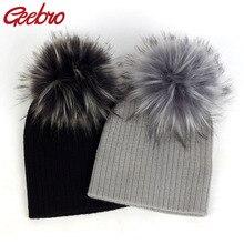 Geebro/модные однотонные шапки с гофрированной резинкой для новорожденных, шапки с помпон с искуственным мехом, новые мягкие милые шерстяные лыжные шапочки для мальчиков и девочек