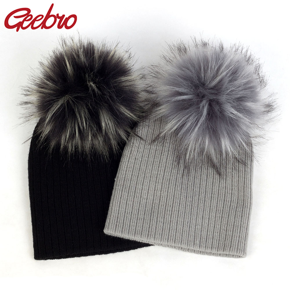 Geebro Fashion Child Baby Solid Color Ribbed Beanies Hats With Faux Fur Pompom New Girls Boys Kids Soft Cute Wool Skully Hats