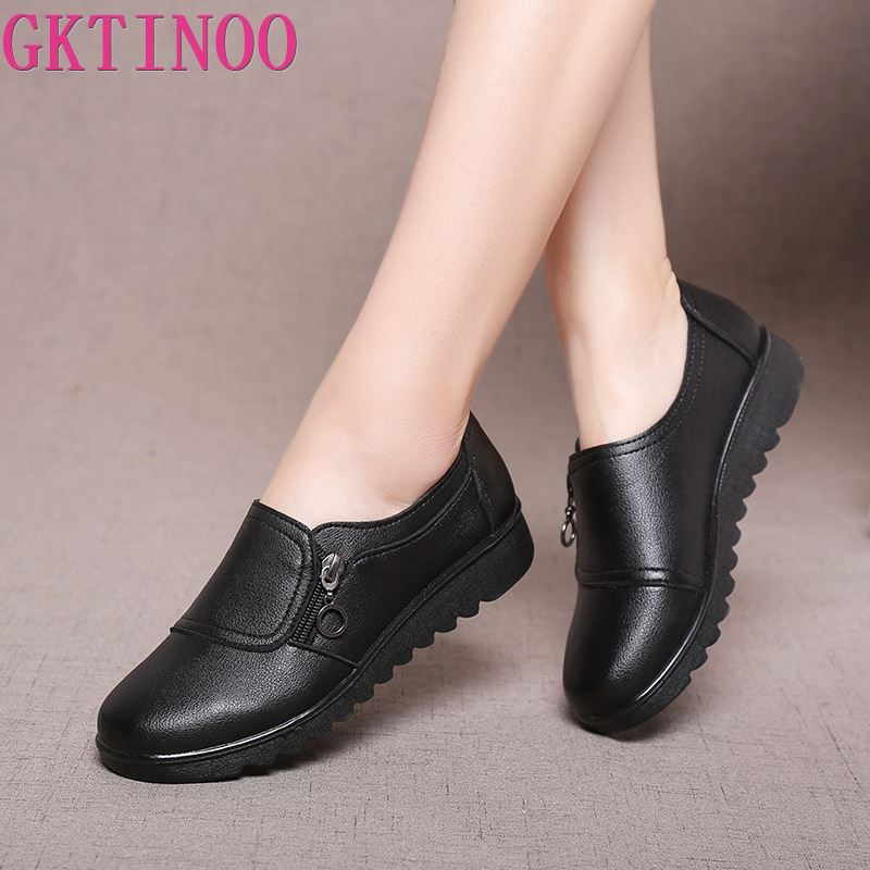 GKTINOO New Autumn Womens Shoes Fashion Casual Women Leather Flat Shoes Ladies Slip On Comfortable Black Work shoes FlatsWomens Flats   -