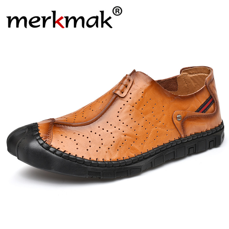 Merkmak 2020 New Spring Men Business Casual Shoes Breathable Hollow Men Loafers Genuine Leather Soft Sole Male Flats Big Size 46