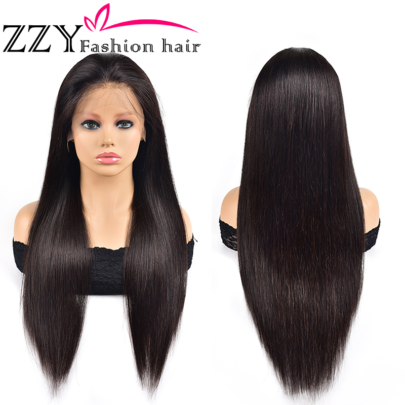 ZZY Fashion Peruvian Straight Lace Front Human Hair Wigs 150% Density 13x4 Lace Frontal Wig Non-remy Pre Plucked With Baby Hair