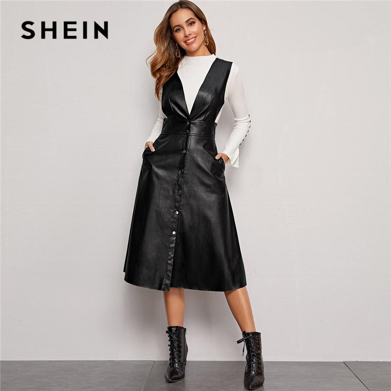 SHEIN Plunging Neck Button Front PU Overall Dress Women Spring High Waist Sleeveless Fit And Flare Pinafore Elegant Long Dresses