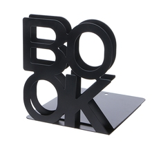Metal Bookends Desk-Stand Support Office Student Iron 1-Pair Alphabet-Shaped