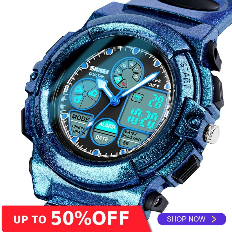 SKMEI Sports Kids Watches Children Waterproof Military Dual Display Wristwatches LED Waterproof Watch Montre Enfant 1163