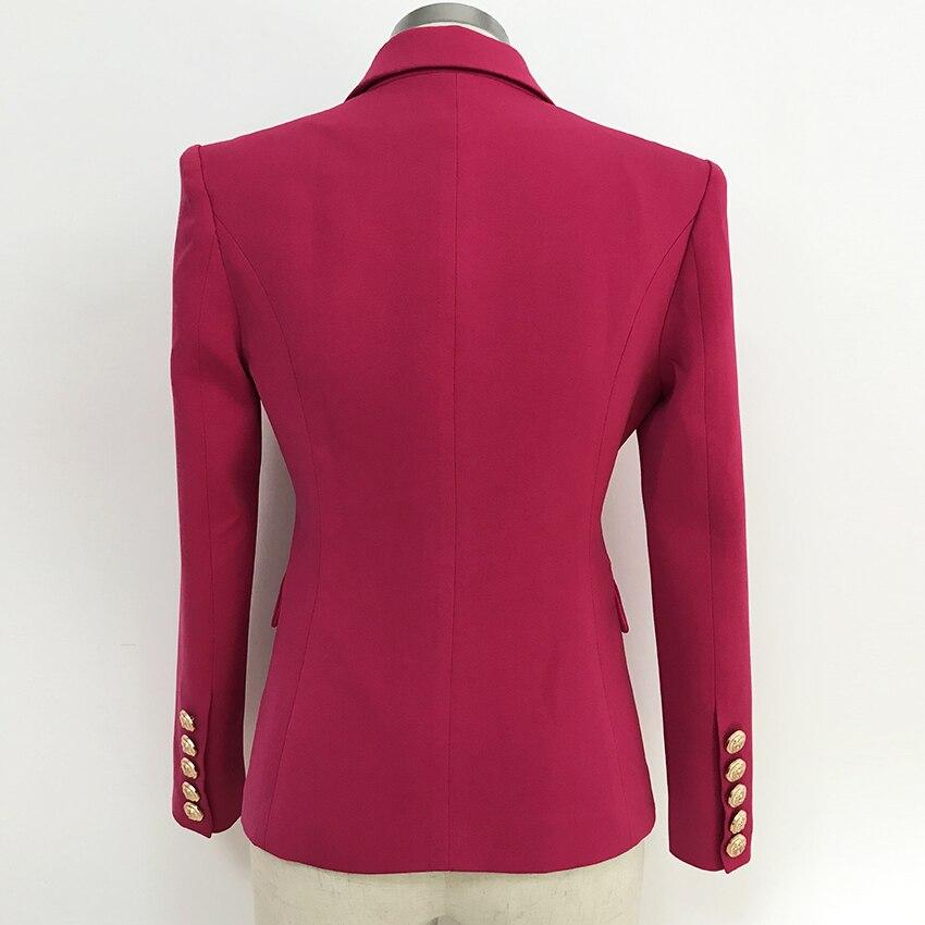 Rode Double Breasted Blazer Vrouwen Kantoor Formele Mentale Knoppen Blazer Plus Big Size Vrouwen Blazers Drop Schip Black - 3