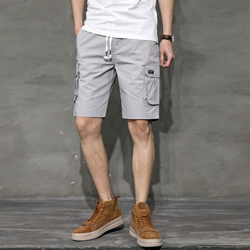 Fashion Men Casual Shorts Cotton Mid Waist Loose Cargo Shorts Drawstring Stretch Thin Streetwear Bermudas Mens Half Pants XX60MS
