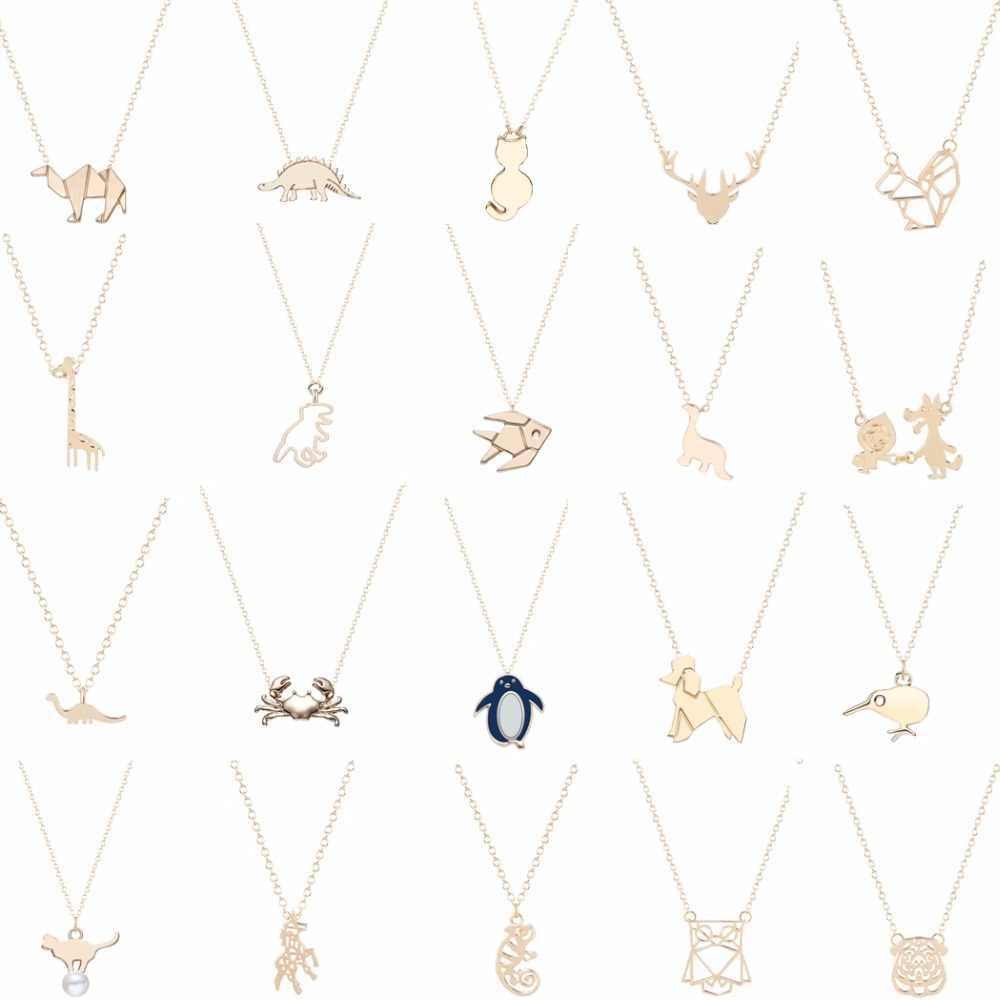Динозавр кролик, белка Пингвин Краб Единорог птица олень Сова рыба собака кошка ожерелье в виде животного подвески ПЭТ ювелирные украшения для влюбленных