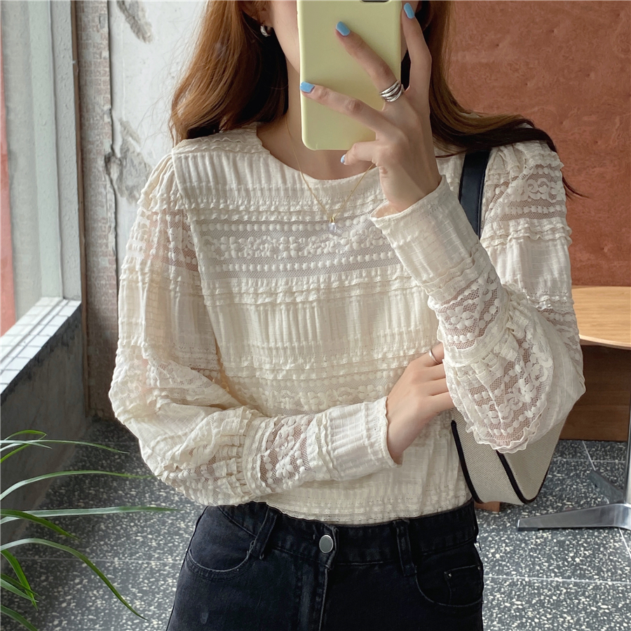 H8805b9e1bdff493e82d63dd5b04feb071 - Spring / Autumn Korean O-Neck Long Sleeves Solid Lace Blouse