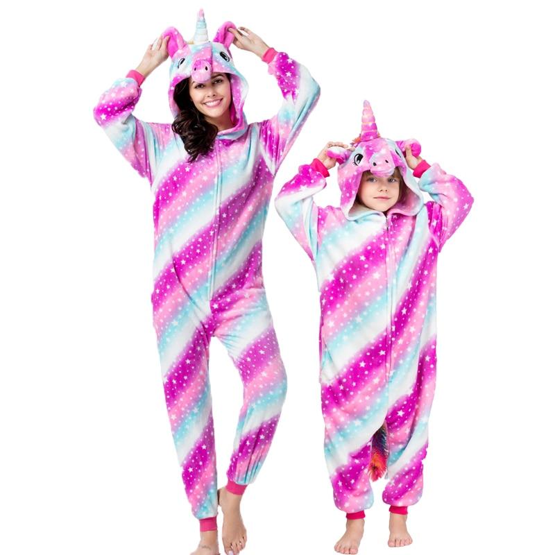 Kigurumi Adult Unicorn onesie πιτζάμες Flanel Anime Pijama Κορίτσι αγόρι Cosplay Ζεστά πιτζάματα με κουκούλα Οικιακά σκεύη Ζώες Πιτζάμα ζώων