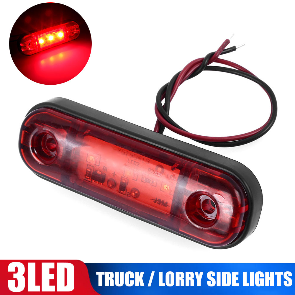 NEW 3 LED Marker Light Warning Light For Truck Trailer Camper RV Waterproof Red Car Pickup Lamp