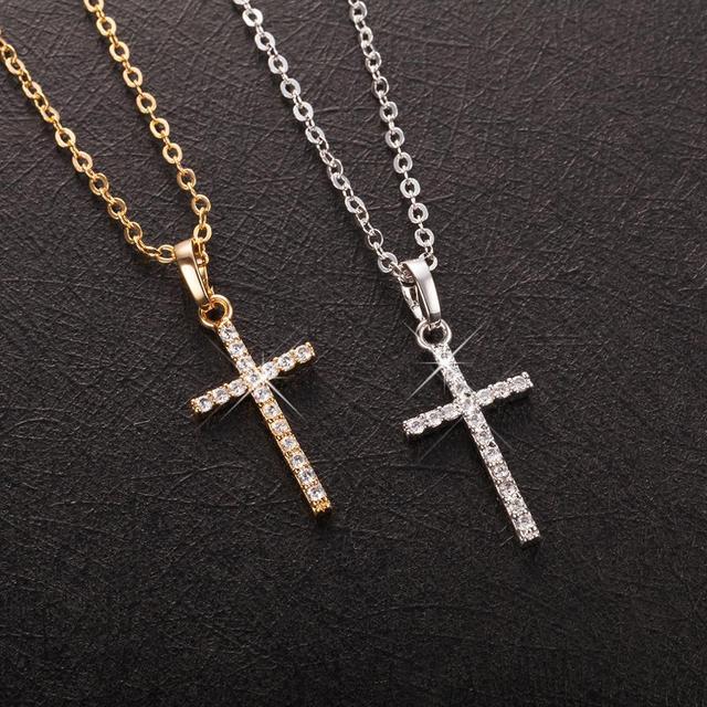 Fashion Female Cross Pendants dropshipping Gold Black Color Crystal Jesus Cross Pendant Necklace Jewelry For Men/Women Wholesale 1
