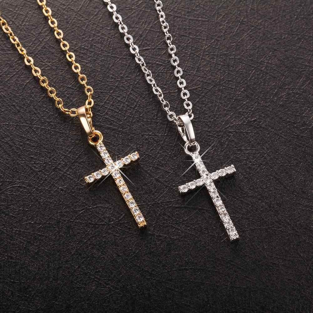 Fashion Female Cross Pendants dropshipping Gold Black Color Crystal Jesus Cross Pendant Necklace Jewelry For Men/Women Wholesale