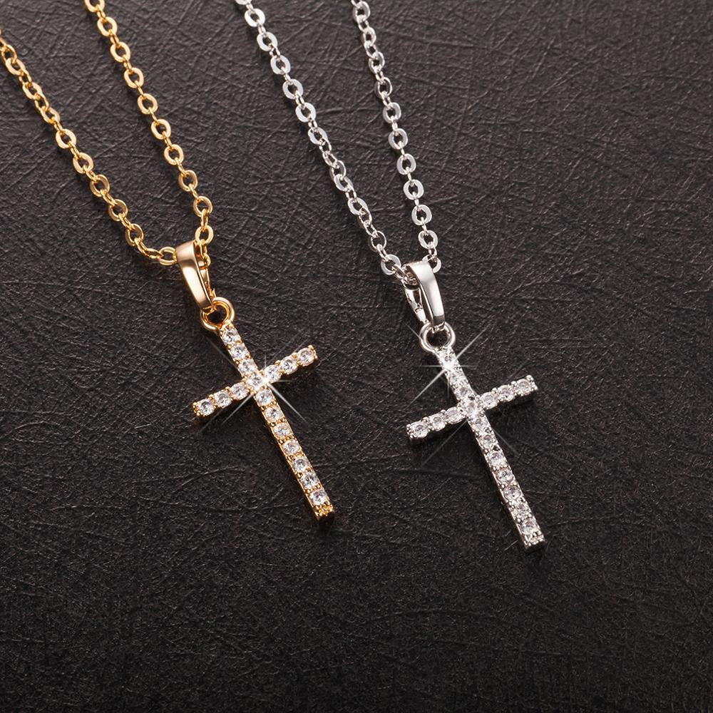 Модные женские подвески в форме Креста, Прямая поставка, золотой, черный цвет, кристалл, Крест Иисуса, подвеска, ожерелье, ювелирные изделия ...