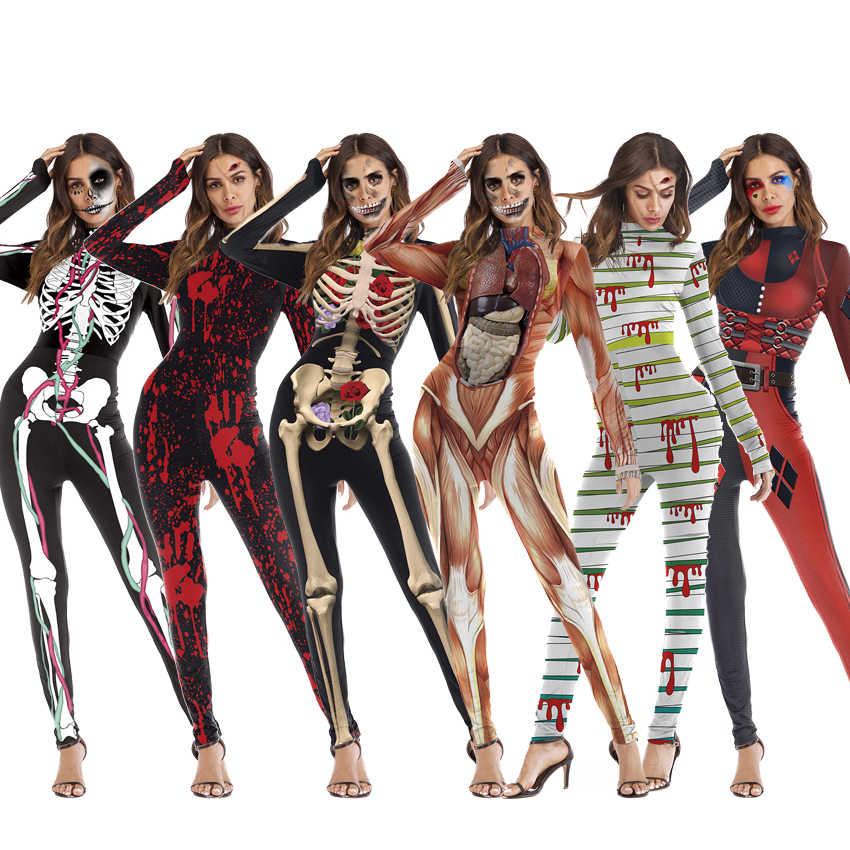Pink Queen Womens Halloween Cosplay Skull Skeleton Print Costume One-Piece Catsuit Bodysuit