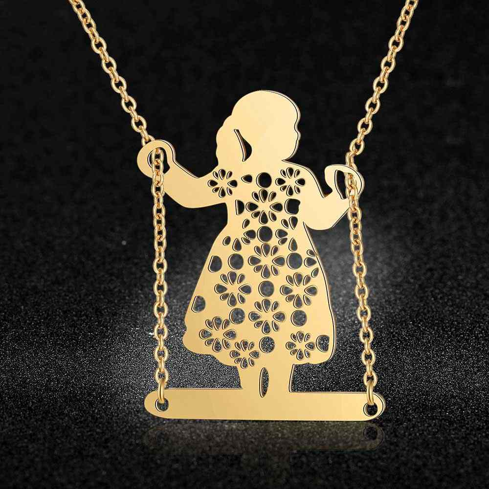 100% Stainless Steel Swinging Girl  Fashion Necklace for Women Female Trendy Jewelry Wholesale Unique Design Pendant Necklaces