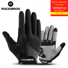 Rockbros Winddicht Fiets Handschoenen Touch Screen Riding Mtb Bike Handschoen Thermische Warm Motorcycle Winter Herfst Fiets Kleding