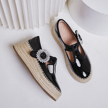 Womens real leather t strap platform flats loafers leisure soft comfortable bordered Rhinestone casual moccasins student shoes