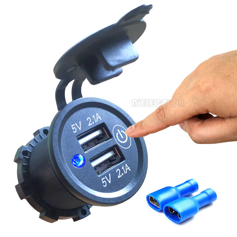DIY Kit 4.2A 12V/24V Car USB Power Outlet Waterproof Car Charger with Switch Blue for Car RV ATV Boat Marine Motorcycle Mobile
