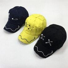 Baseball-Cap Frayed Washing YELLOW Summer UNISEX COTTON Hat-Pin-Design MEN