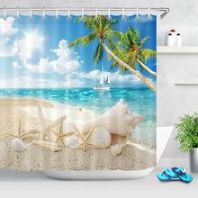 High Quality Sea Beach Printed Fabric Shower Curtains Ocean Scenery Bath Screen Waterproof Products Bathroom Decor with Hooks цена 2017