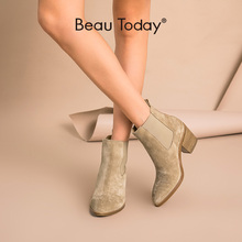 BeauToday Chelsea Boots Women Genuine Leather Cow Suede Pointed Toe Ankle Length High Heel Lady Shoes Handmade 03341