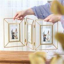 Marcos de fotos geométricos de Metal nórdico de 6/8 pulgadas, escritorio creativo y la Oficina para el hogar, cuadro decorativo de hierro dorado plegable, adorno de Marco